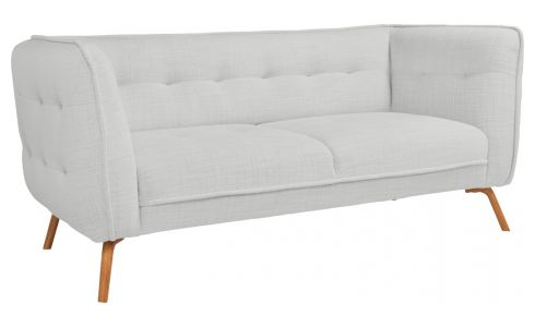 2 seater sofa in Fasoli fabric, grey sky and oak legs