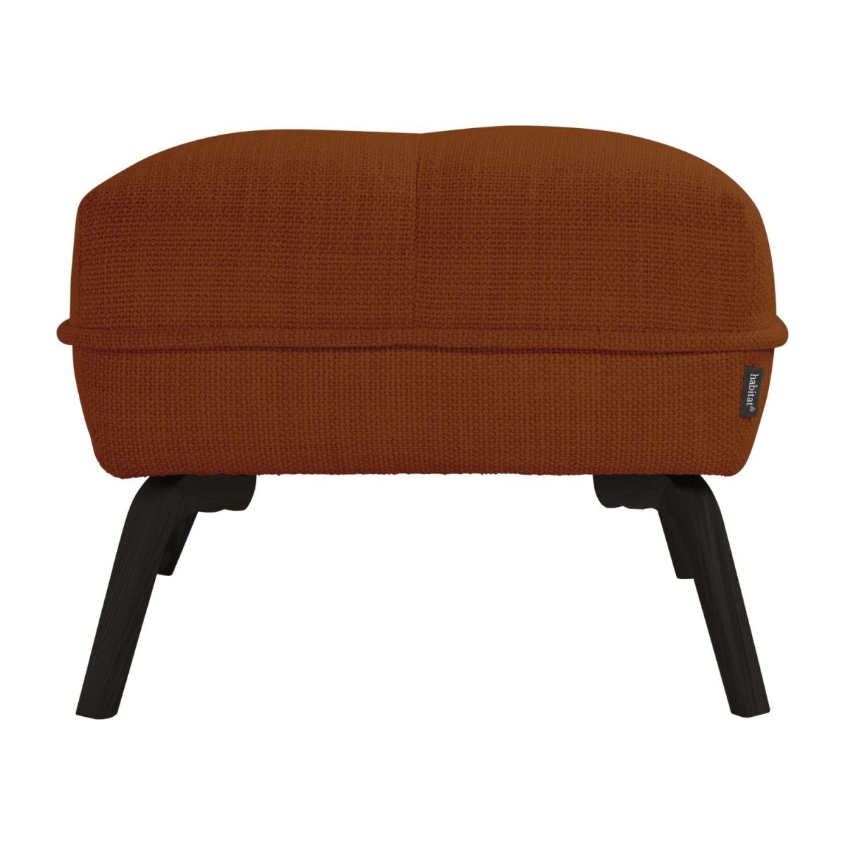 Footstool in Fasoli fabric, warm red rock and dark legs n°4