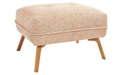 Footstool in Bellagio fabric, passion orange and oak legs