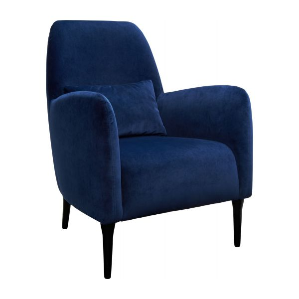 antoine fauteuil en velours bleu et pieds fonc s habitat. Black Bedroom Furniture Sets. Home Design Ideas