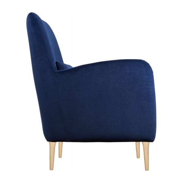 antoine fauteuil en velours bleu habitat. Black Bedroom Furniture Sets. Home Design Ideas