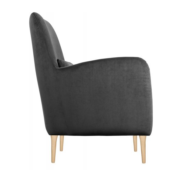 antoine fauteuil en velours gris habitat. Black Bedroom Furniture Sets. Home Design Ideas