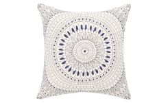 Coussin 30x30 broderie bleue