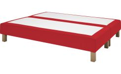 Slatted divan 2x80x200cm in felt, red