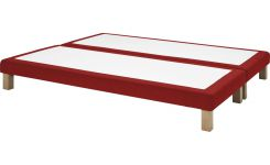 Slatted divan 2x70x200cm in felt, red