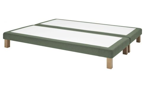 Slatted divan 2x80x200cm in felt, green marl