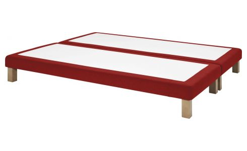 Slatted divan 2x90x200cm in felt, red