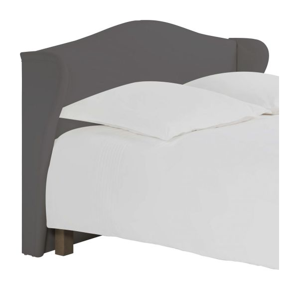 ushuaia t te de lit pour sommier en 180 cm en tissu gris. Black Bedroom Furniture Sets. Home Design Ideas