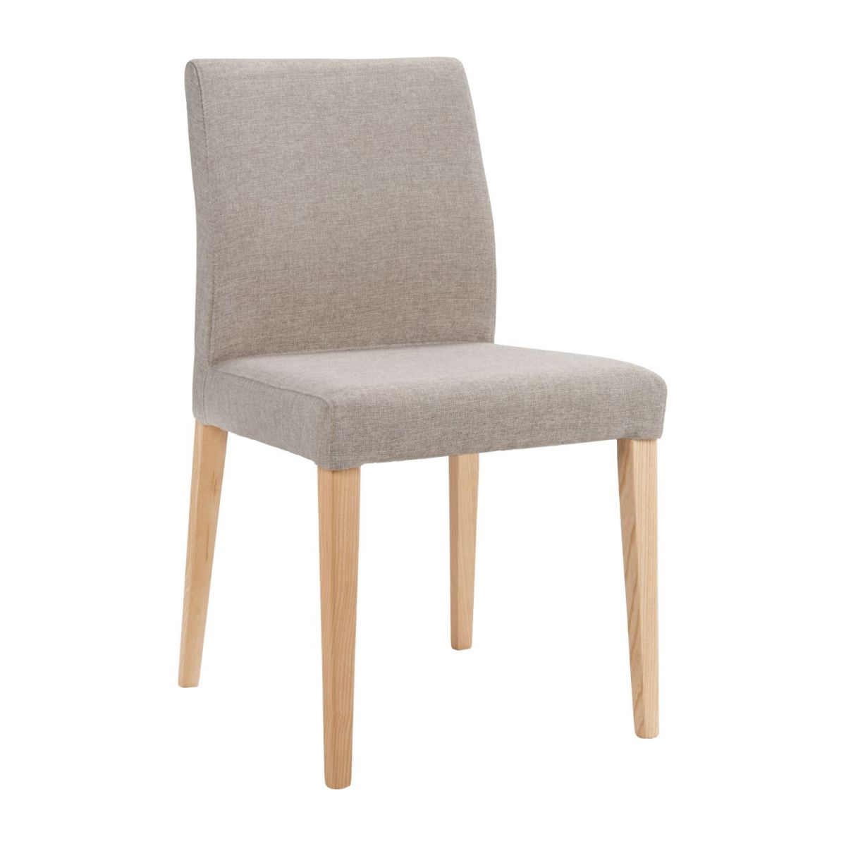 Chair made of fabric, beige with ash legs n°1
