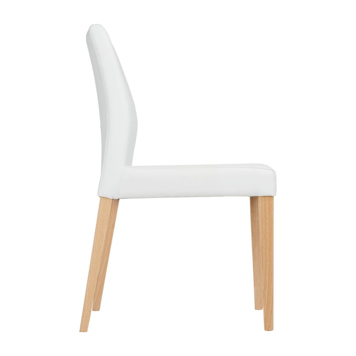 Chair made of imitation leather, white with ash legs n°5