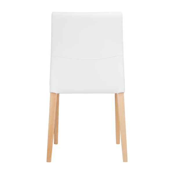 Chair made of imitation leather, white with ash legs n°4