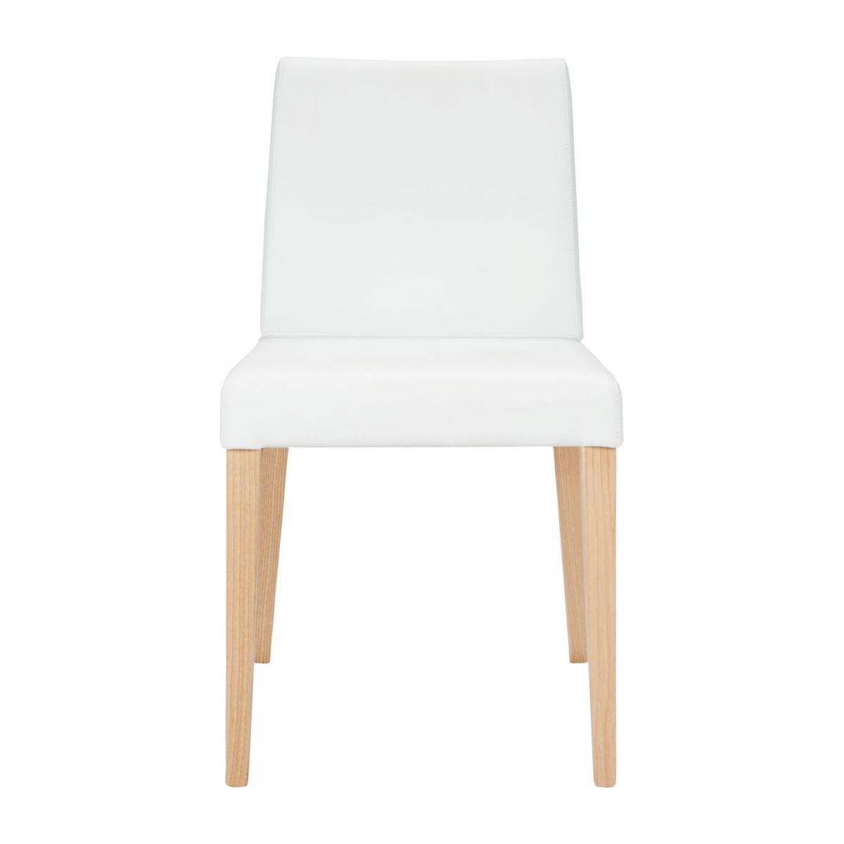 Chair made of imitation leather, white with ash legs n°3