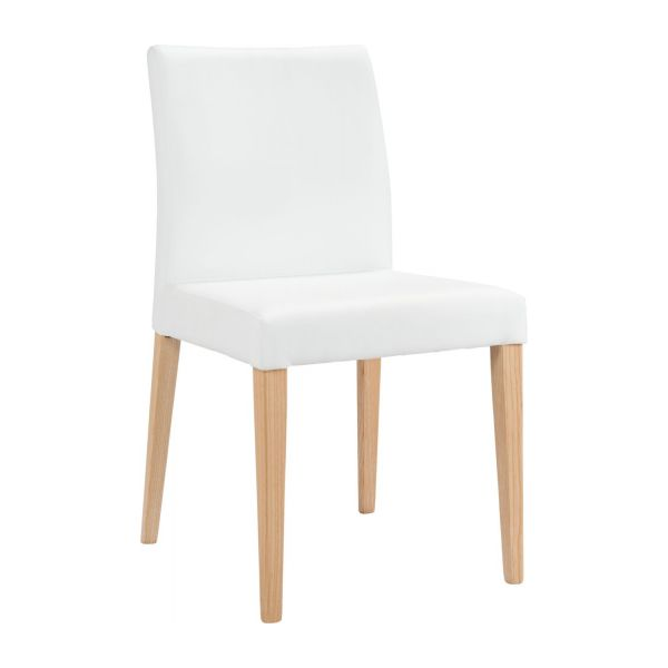 Chair made of imitation leather, white with ash legs n°1