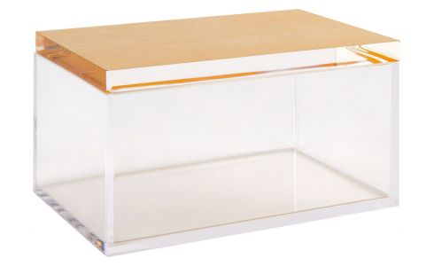 Box made of acrylic 12cm, transparent and gold