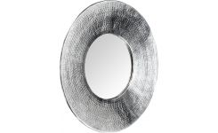 Hanging mirror made of hammered metal