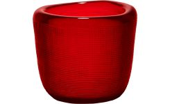 Candle holder made of glass, red