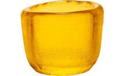 Candle holder made of glass, yellow