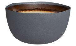 Bowl made of sandstone, grey and brown