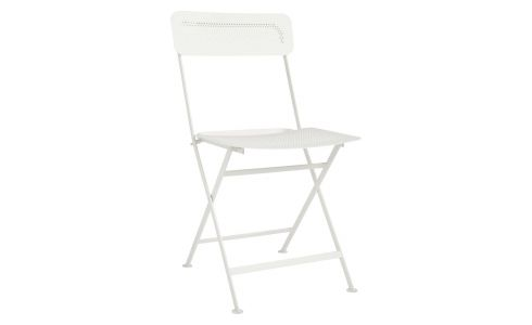 Folding chair made of metal, white