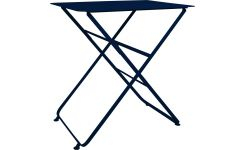 Folding table made of metal, blue