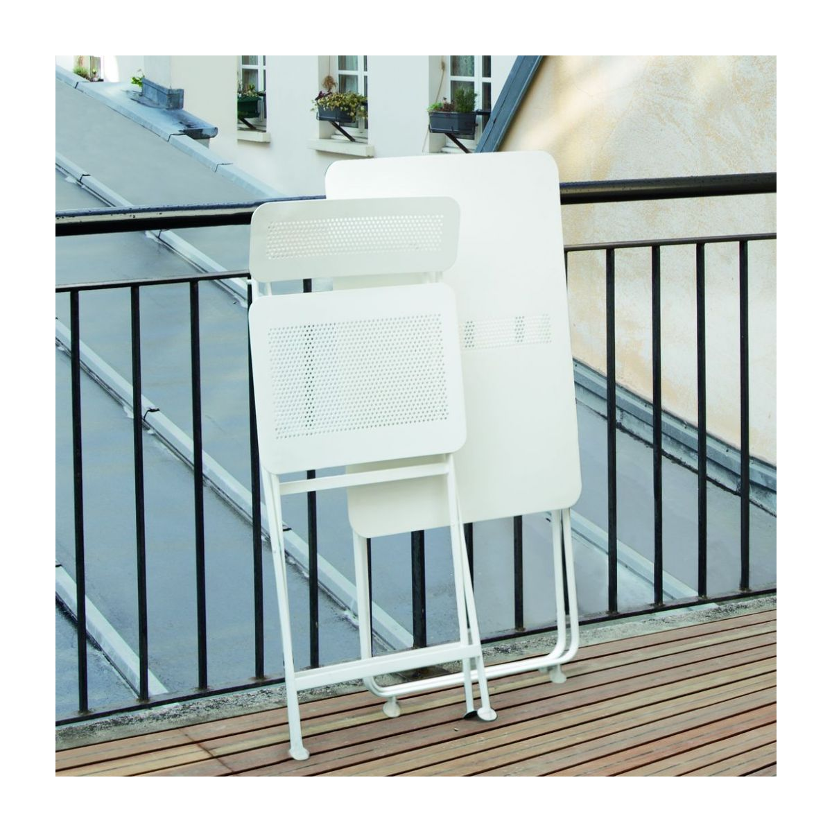 Mesa plegable de metal - Blanco n°8