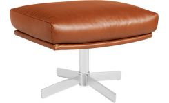 Footstool made of vintage aniline leather, brown brushed metal legs