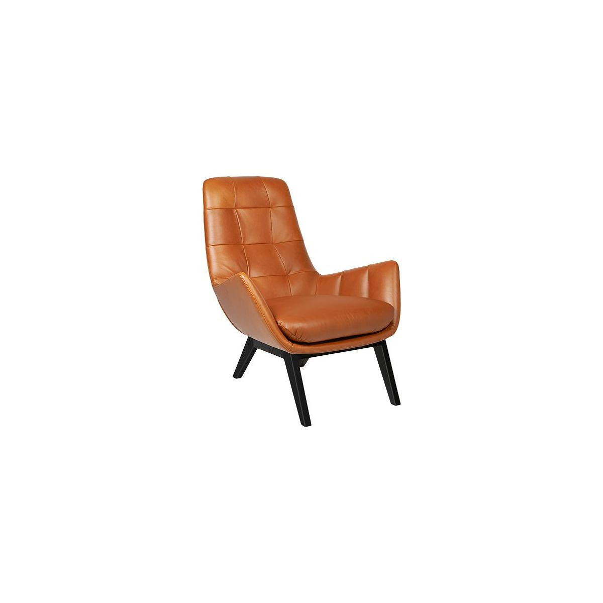 Armchair in Vintage aniline leather, old Chestnut with dark oak legs n°1