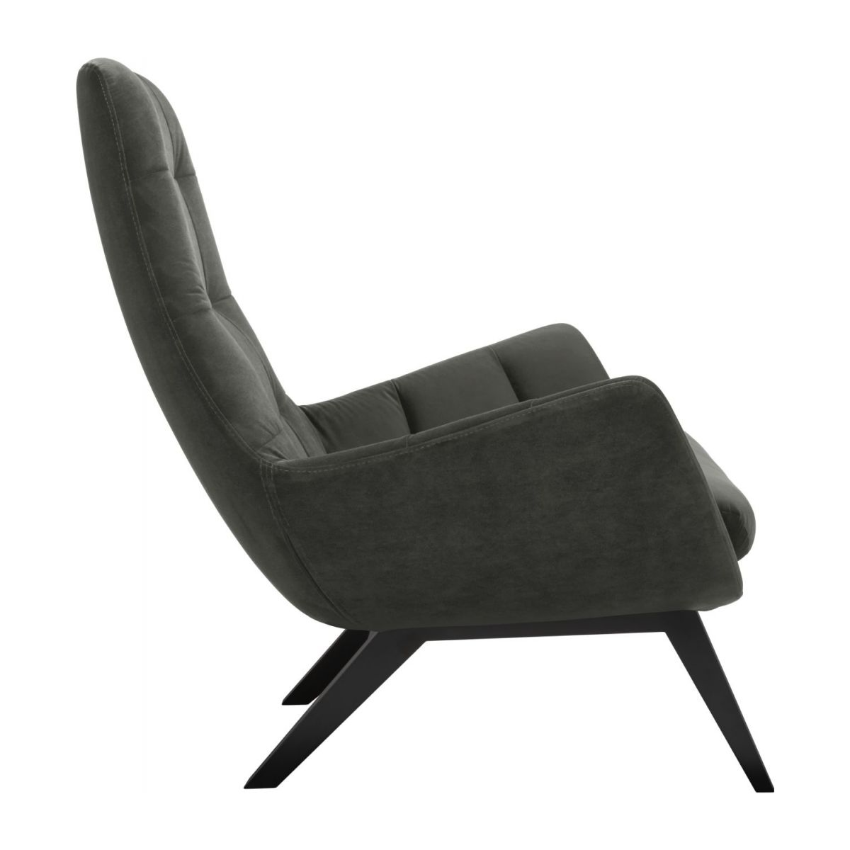 Armchair in Super Velvet fabric, silver grey with dark oak legs n°4