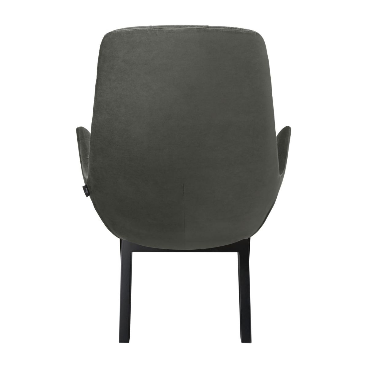 Armchair in Super Velvet fabric, silver grey with dark oak legs n°3