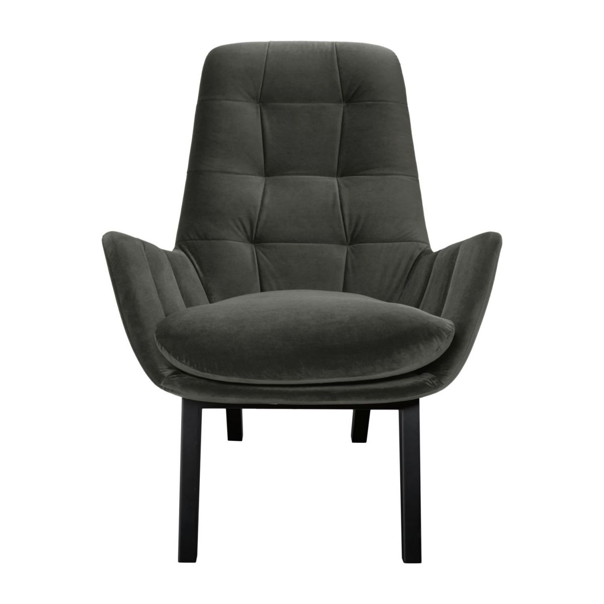 Armchair in Super Velvet fabric, silver grey with dark oak legs n°2