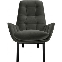 Armchair in Super Velvet fabric, silver grey with dark oak legs