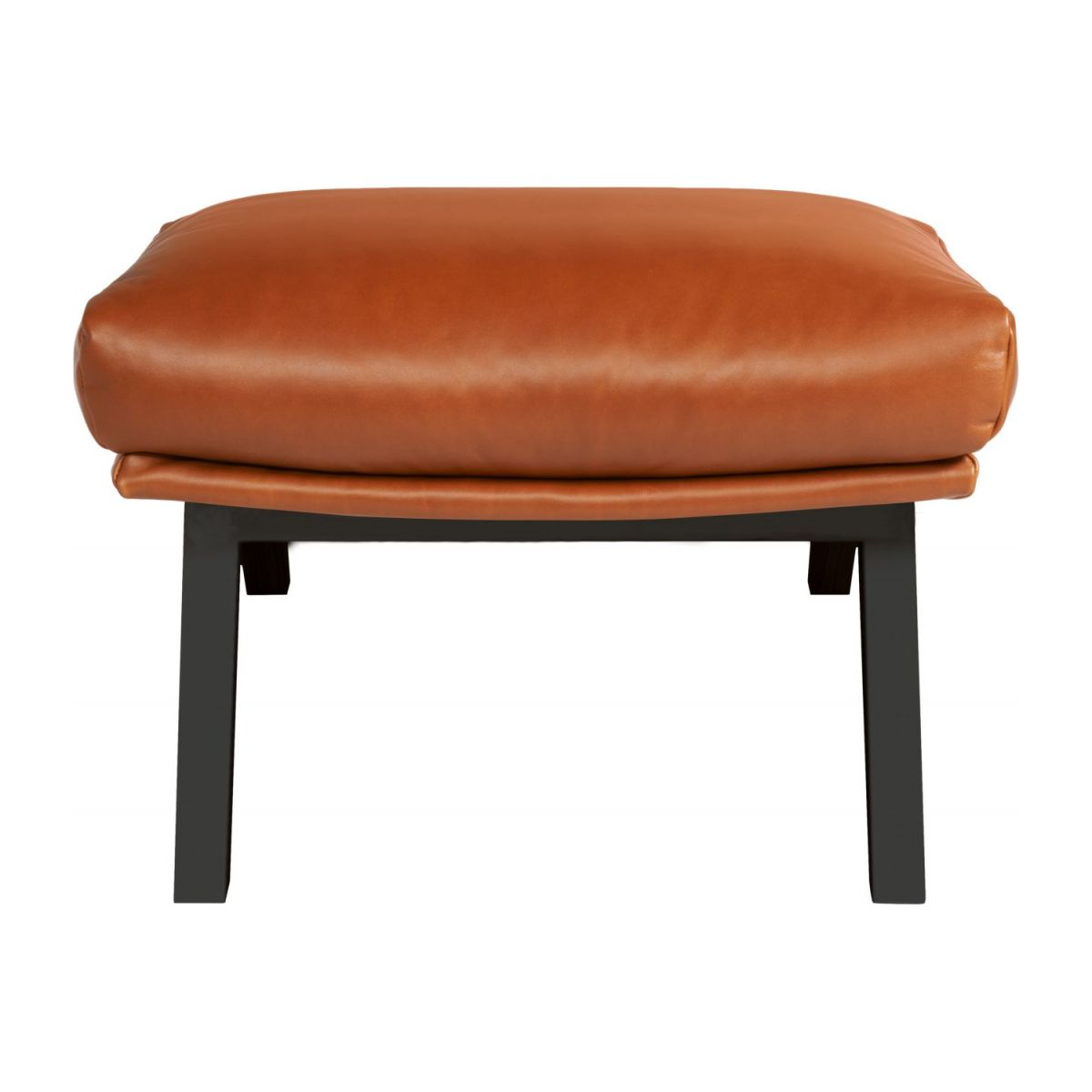 Footstool in aniline Vintage Leather, old chestnut with dark legs n°2
