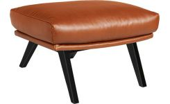 Footstool in aniline Vintage Leather, old chestnut with dark legs