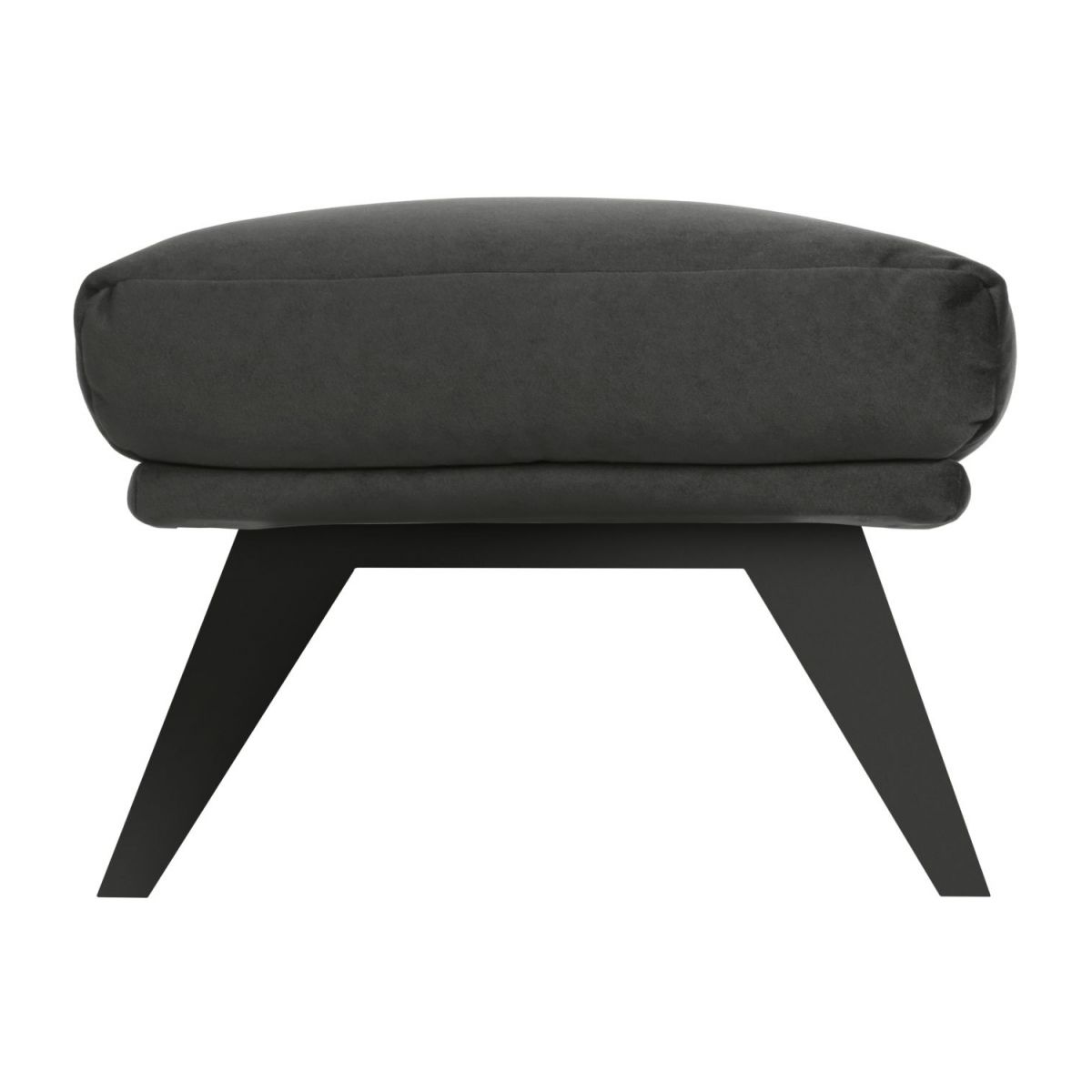 Footstool in Super Velvet fabric, silver grey with dark legs n°3