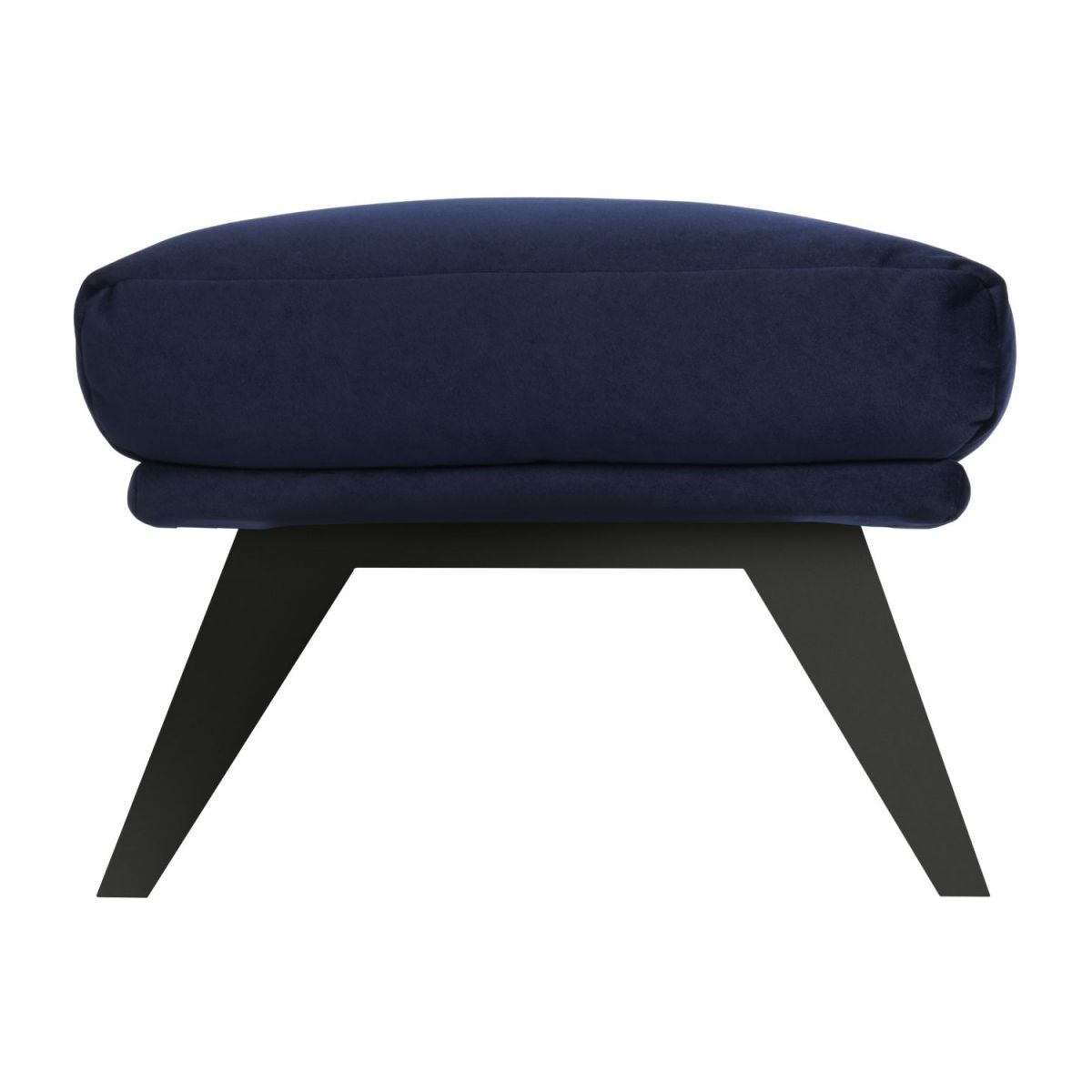 Footstool in Super Velvet fabric, dark blue with dark legs n°3