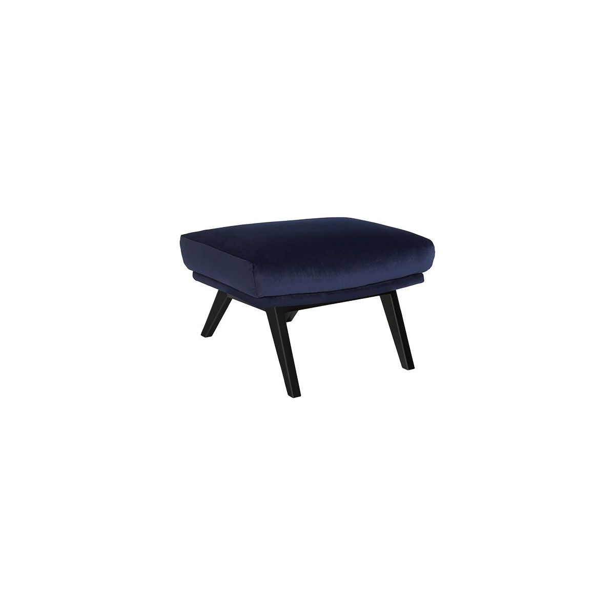 Footstool in Super Velvet fabric, dark blue with dark legs n°1
