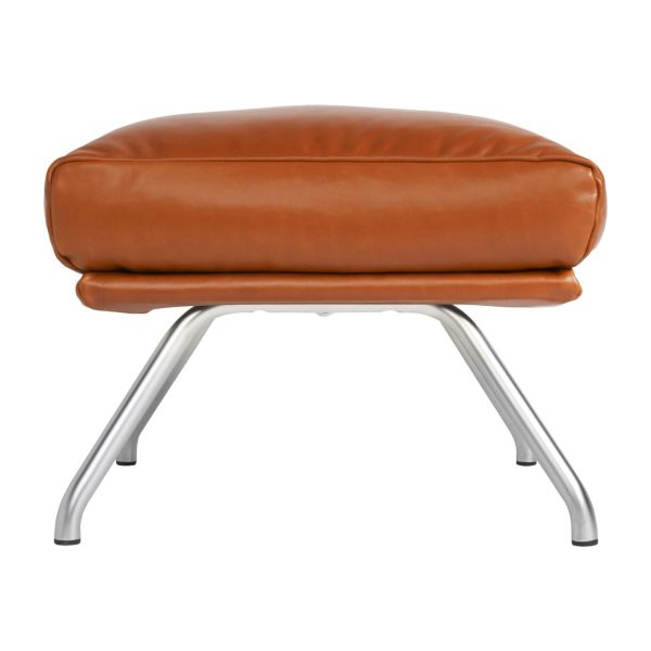 Footstool in aniline Vintage Leather, old chestnut with matt metal legs n°3