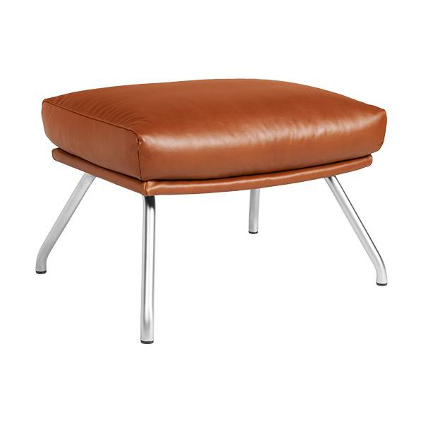 Footstool in aniline Vintage Leather, old chestnut with matt metal legs n°1