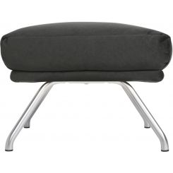 Footstool in Super Velvet fabric, silver grey with matt metal legs