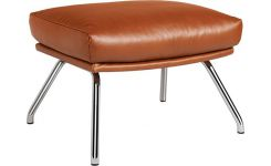 Footstool made of vintage aniline leather, brown chromed metal legs