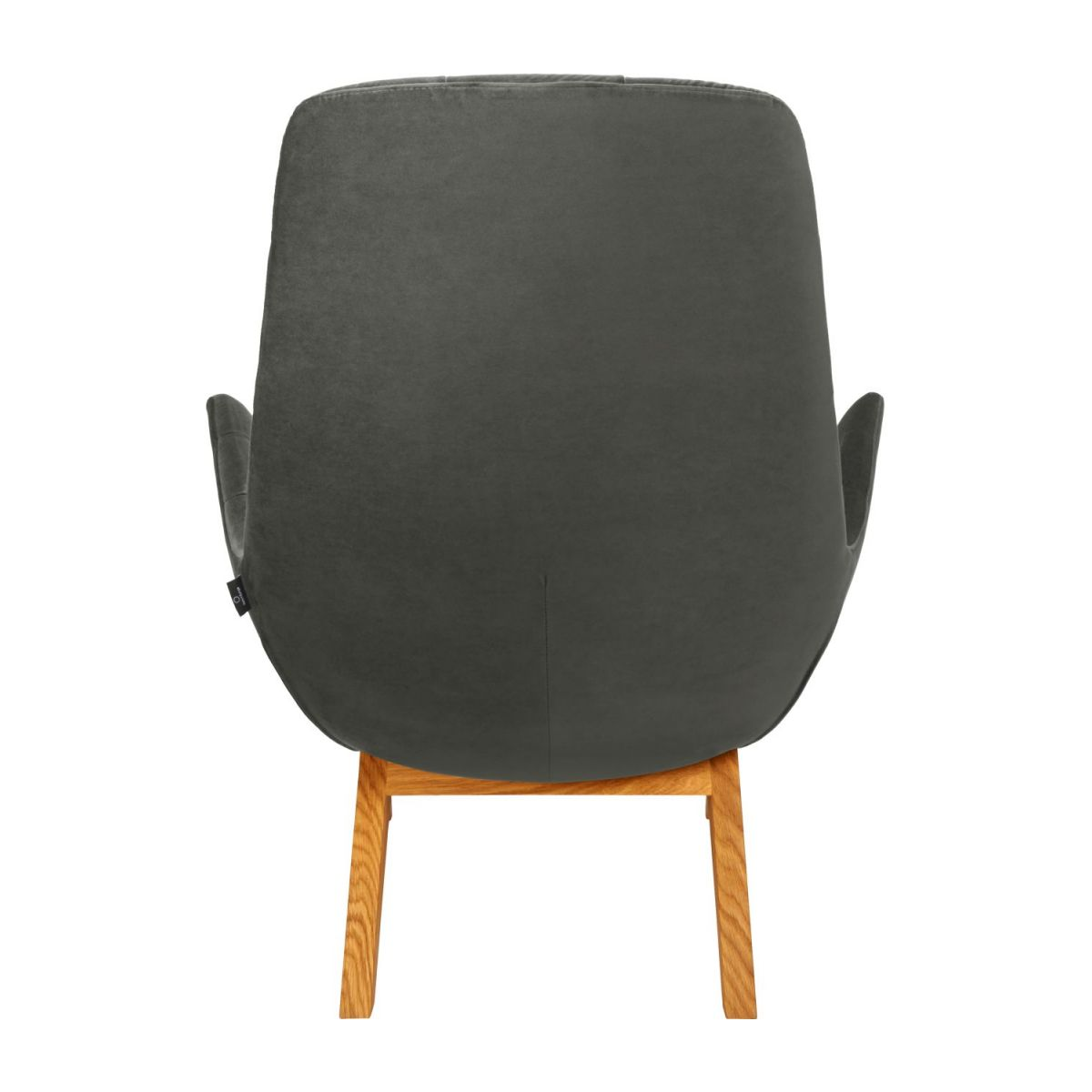 Armchair in Super Velvet fabric, silver grey with oak legs n°3