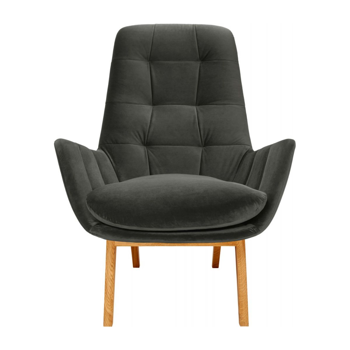 Armchair in Super Velvet fabric, silver grey with oak legs n°2