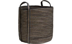 Round striped basket made of jute, with handles 40cm
