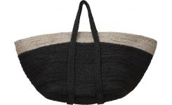 Square black basket made of jute, with handles