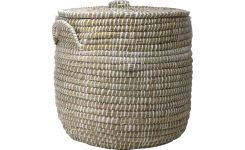 Laundry basket made of seagrass, natural and white 50cm