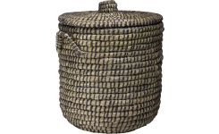 Laundry basket made of seagrass, natural and black 45cm