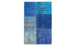 Carpet made of wool 90x140, shades of blue