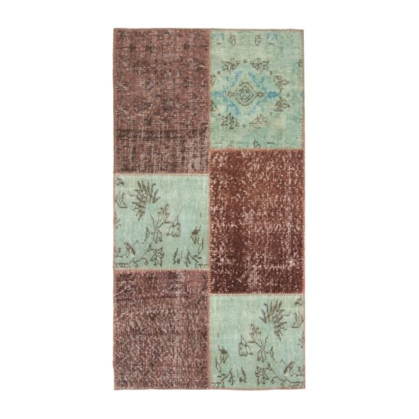 Carpet made of wool 80x150, pink, green and brown