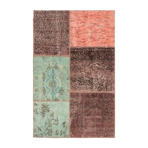 Carpet made of wool 90x140, pink, green and brown