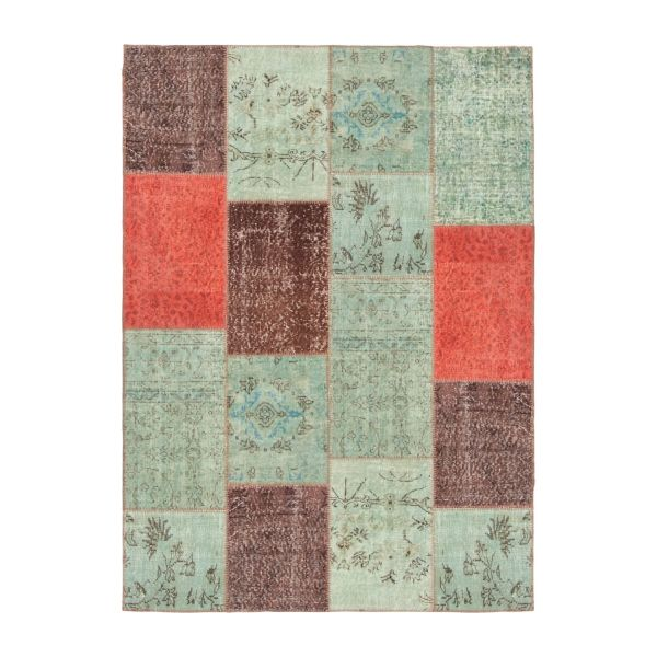 Carpet made of wool 160x220, pink, green and brown